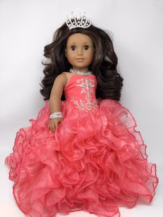 One of a Kind (OOAK) American Girl Doll ~ Ana Sofia ~ wearing Custom Coral Pink Quinceanera Gown with coordinating Rhinestone Jewelry and Tiara #americangirl #quinceanera #anasofiaooak