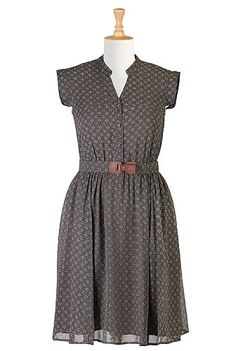 I <3 this Tile print chiffon belted dress from eShakti