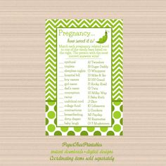 Candy Bar Game Peas in a Pod Baby Shower by PaperTreePrintables
