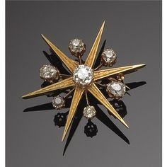 TWO-COLOURS GOLD AND DIAMOND BROOCHES. Victorian or Victorian style.