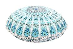 Large 32 Round Pillow Cover Decorative Mandala Pillow Sham Indian Bohemian Ottoman Poufs Pom Pom Pillow Cases Outdoor Cushion Cover Pattern 5 -- Continue to the product at the image link.-It is an affiliate link to Amazon. #DecorativePillowsInsertsCovers