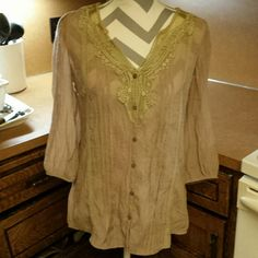 Long sleeve sheer peasant top Long sleeve, sheer. Great cute casual top paired with a cream tank top and skinnies. Cinched at end of sleeves, not flowy. Wet Seal Tops Blouses
