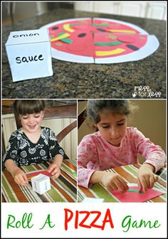 Roll a Pizza Game - Free printables to make your own pizza game while you wait to enjoy a Tony's Pizza. #tonyspizzeria #PMedia #ad
