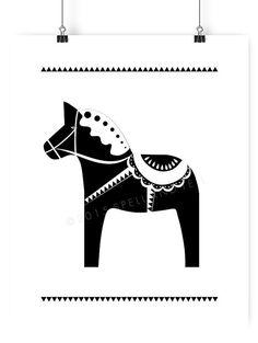 dala horse print // nordic style print // black by spellandtell
