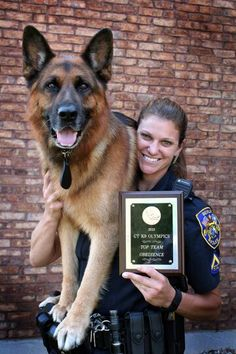 ❤ K-9  Titan...what a beautiful GSD and partner.  I love this team!