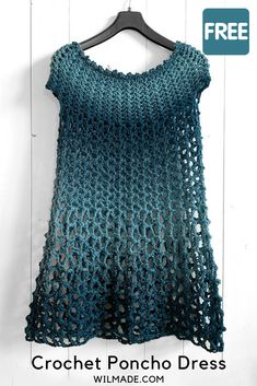 Crochet this simple crochet poncho dress with my free crochet pattern! Looking for a simple crochet poncho dress pattern that works up fast? Learn how to make one with my free crochet pattern (sizes and video tutorial! Crochet Tunic Pattern, Crochet Blouse, Crochet Shawl, Knit Crochet, Crochet Patterns, Crochet Tops, Crochet Edgings, Freeform Crochet, Crochet Motif