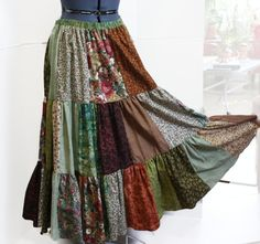 Patchwork Hippie Skirt Womens Long Skirt Festival Skirt Hippie Clothes Medium Large to Plus Size by Sweetbriers, $90.00
