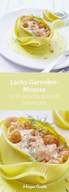Lachs-Garnelen-Mousse in Muschelnudeln mit Safransauce