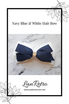 A stylish navy blue and white hand-crafted hair bow made from quality grosgrain ribbon with sparkly embellishment. Perfect as a child's photo shoot prop, tween girls gift or Easter basket stuffer. It has an uncovered alligator clip attached to the back so it can be placed securely in the hair. Length 4ins/10cm x Width 5.5ins/13.5cm Handmade Hair Bows, Handmade Hair Accessories, Girls Hair Accessories, Handmade Shop, Tween Girl Gifts, Gifts For Girls, Tween Girls, Navy Blue, Blue And White