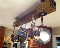 Vintage reclaimed wood kitchen rack/ pot hanger, brought into modern look and styling. Energy efficient LED lighting and custom color.