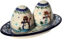 """Polish Pottery Salt and Pepper Shakers by Zaklady Boleslawieckie. Save 27 Off!. $26.80. Use: Polish Pottery is oven- dishwasher- stove- and microwave oven safe, lead and cadmium free, resistant to chip.. Dimensions: *Board: Height: 0.8"""" *Shakers: Height: 2.80"""". Origin: Boleslawiec, Poland. Each piece of Polish Stoneware is handmade and hand-painted.. The Polish Pottery Salt and Pepper Shakers, in the Unikat Signature Patterns, are amazing pieces of Polish Stoneware artwork. Bec..."""