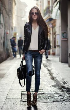 Leather & Denim  #Black Leather BikerJacket #Blue Patched Skinnies #Black Leather Tote