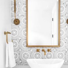 Powder room This powder room was designed to impress! I love the combination of the brass accents with the marble mosaic tile neutral bathroom design with geometric tile and vessel sink with gold faucet, charming kid bathroom Bad Inspiration, Bathroom Inspiration, Bathroom Kids, Master Bathroom, Brown Bathroom, Bathroom Layout, Bathroom Canvas, Shared Bathroom, Gold Bathroom