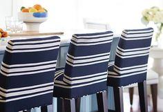 Barstools. Barstool Fabric Ideas. Lee Industrial Barstools in navy striped sunbrella fabric. #Barstool #BarstoolFabric Kate Jackson Design.