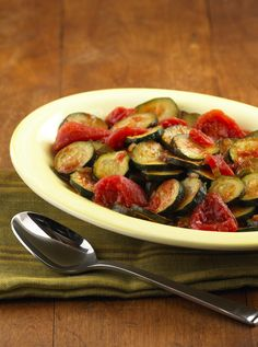 Friends and family will love this quick sauteed zucchini recipe with stewed tomatoes.