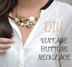 How to make a necklace from vintage buttons #jewelry #upcycle #repurpose @totgreencrafts