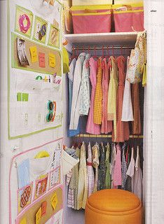 When it comes to kids' wall storage you can't beat the function of a good multi-pocket organizer for keeping hair accessories, lip balm, sunglasses and other misc. Tiny Closet, Small Closets, Clever Closet, Shared Closet, Simple Closet, Closet Space, Small Rooms, Kids Room Organization, Playroom Ideas