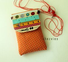 Orange Padded iPhone sleeve - smartphone cover - mobile phone case - cellphone pouch padded with pocket- phone sling bag - I love sewing