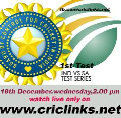 18 December Wednesday.1st Test between India vs South Africa will be played at Johnnesburg.The first Test match of the post Tendulkar era for India will begin tomorrow at the Wanderers in Johannesburg.  This series versus the South African side will mark the first time in last 20 years, that Sachin Tendulkar won't be a part of a Test series against South Africa. Match will be start at 2.00PM IST.1.30 PM PST.watch live action only on http://www.criclinks.net/