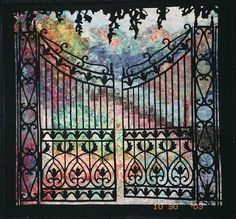 wowowwow.  Garden gate silhouette quilt by Dilys Fronks.Flickr.com