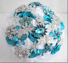 Teal wedding brooch bouquet...Cool idea and you could do this in ANY color combo!