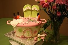 Adorable cake for a spa party-my 7th birthday cake did not look like this-but I love this for any spa party!