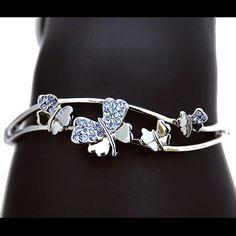 Swarvoski Crystal Butterfly Bangle by JewelleryForHer on Etsy, $39.99