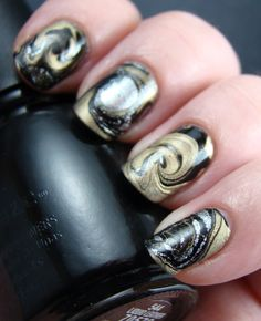 silver gold and black water marble nails - easy galaxy nails