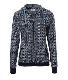 Blaue Sweatjacke der niederländischen Lingerie-Marke Livera mit einem fetzigen grafischen Muster und einer coolen Kapuze. An der Vorderseite gibt es zwei praktische Taschen. Schöne Strickjacke für zu Hause oder im Fitness-Studio! Ergänze Dein Outfit mit der dazu passenden Hose von Livera.