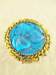 Vintage Pin Brooch Blue Molded Glass Cabachon Rhinestone Gold Plate Filigree