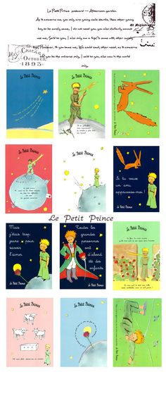 The Little Prince Le Petit Prince Postcards Set by StickerParadise First Birthday Parties, Birthday Party Themes, First Birthdays, Happy Birthday, Little Prince Party, The Little Prince, Prince Birthday, Book Projects, Postcard Size