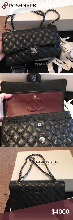 5186243648a3c9 Chanel Caviar Medium Double Flap Shoulder Bag Brand New 100% Authentic 2017  Chanel Black Caviar