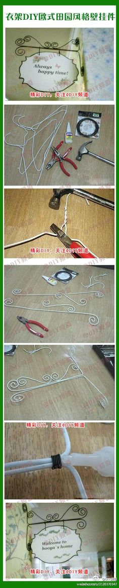 What to do with some of those leftover wire hangers!~ How to make a wire hanging bracket out of a metal coat hanger. Wire Crafts, Fun Crafts, Diy And Crafts, Arts And Crafts, Metal Coat Hangers, Wire Hangers, Clothes Hangers, Pant Hangers, Hooks