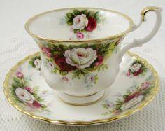 Taza de té Royal Albert Shamrock y platillo China de por TheAcreage