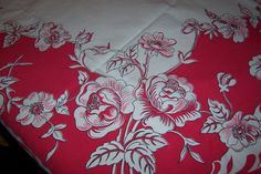 red and white floral vintage tablecloth by ABonnieTable on Etsy