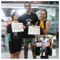 Graduação de Muay Tahi com op professor Caio e Suas alunas Werena e Thidú