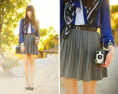 Vintage Blouse, Vintage Brownie Camera