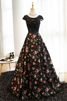 Beautiful black lace top floral polyester prom dress, vintage prom dress, long prom dress with sleeves