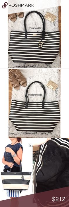 Kate Spade Black & White Stripe Grant Street Jules XL 100% authentic Kate Spade Grant Street Jules handbag • fits all your every day essentials & then some! • in great preloved condition, only flaws to note is the small lipstick mark on the interior flap and a few minor hairline marks on the bottom of the bag, neither is noticeable when worn • photo 3 is for size reference (& shows interior), same size of the bag but a different print • DIMENSIONS; 19.25 inches across x 11 inch height x 8.5…