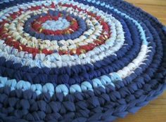 Ready To Ship Shades of Blue Crochet Rag Rug from by mrsginther, $69.00