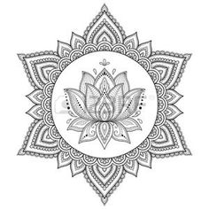 Circular pattern in form of mandala with lotus for Henna, Mehndi, tattoo, decoration. Decorative ornament in ethnic oriental style. Coloring book page - buy this vector on Shutterstock & find other images. Lotus Henna, Mandala Lotus Flower, Lotus Flower Colors, Colorful Flowers, Henna Tatoo, Lotusblume Tattoo, Lotus Tattoo, Mandala Tattoo, New Tattoos