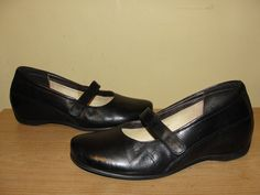 Wolky Women's Shoes Black Leather Comfort Wedges Heels Mary Jane Sz 9-9.5/40.5 #Wolky #PlatformsWedges #WeartoWorkCasual