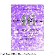 Purple Sweet 16 Silver Glitter Lights Invitation