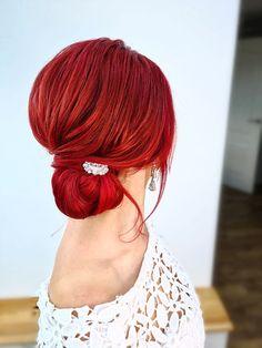Voluminous low sleek bun #bun #bridetobe #bridalhair #essexweddingsupplier #lowbun #redhead #redhair #prettyhair Date Hairstyles, Pretty Hairstyles, Wedding Hairstyles, Red Bridal Hair, Red Hair, Bun Bun, About Hair, Bridesmaid Hair, Cut And Color