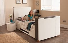 iMedia White/Grey with Storage - 3ft Single TV Bed + FREE Delivery & Installation Tv Beds, Beds For Sale, Beds Online, King Size, Free Delivery, Mattress, Toddler Bed, Interiors, Storage