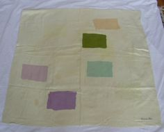 CHRISTIAN DIOR FLOATING SQUARES MOTIF PALE YELLOW 1950s SILK SCARF