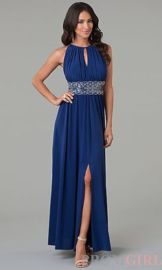 Long Sleeveless Bead Embellished Dress by Morgan 1328 at PromGirl.com