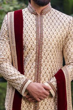 Intricate Cream Sherwani with Churidar - Manyavar Sherwani For Men Wedding, Mens Sherwani, Sherwani Groom, Wedding Dress Men, Wedding Wear, Indian Wedding Clothes For Men, Indian Wedding Couple, Party Wear Indian Dresses, Indian Bridal Outfits