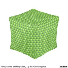 Spring Green Basketry Look, Pouf Cube Pouf