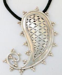 mango paisley shape silver pendant